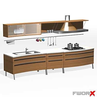 3d model kitchen furniture household