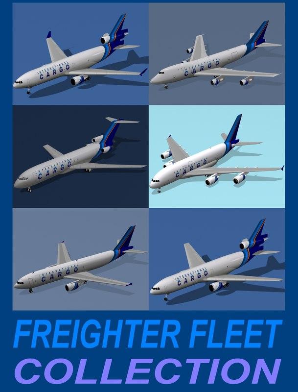 3d model freighter fleet airbus a380-800