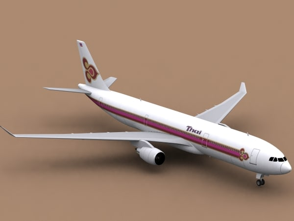 3ds max airbus a330-300 thai airways