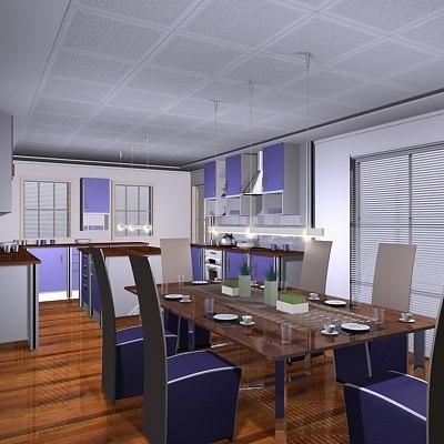 kitchen dining 3d model