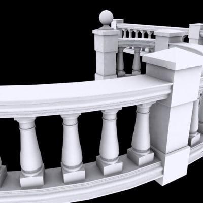 balustrade balcony 3ds