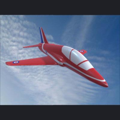 3d red arrow hawk plane model