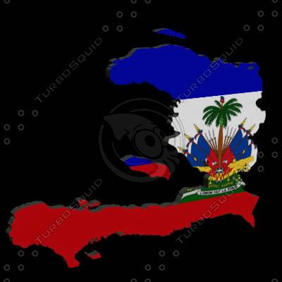 haiti flag 3d model