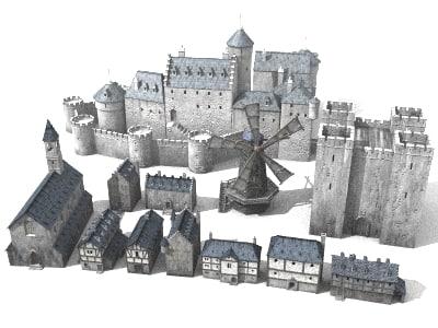 medieval building castles 3d model
