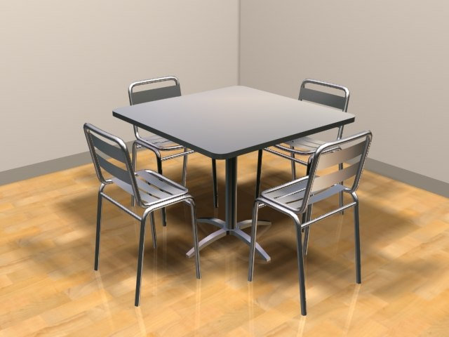 3d model of aluminum chairs table