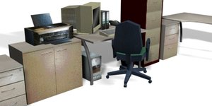 set office interiors file cabinet 3d model