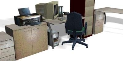 set office interiors file cabinet 3d model