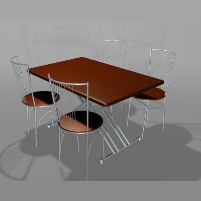 3d model kitchen table chair