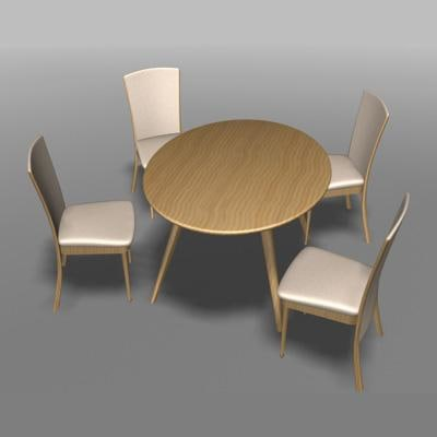 3d kitchen table chair model