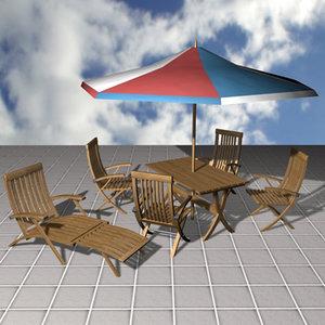 garden furniture table sunbed 3d model