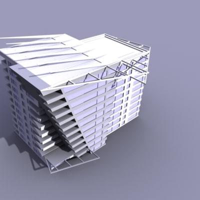 free skyscraper building architecture 3d model