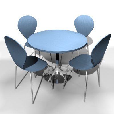 3d modern table chairs model
