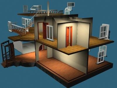 3d cottage rooms area