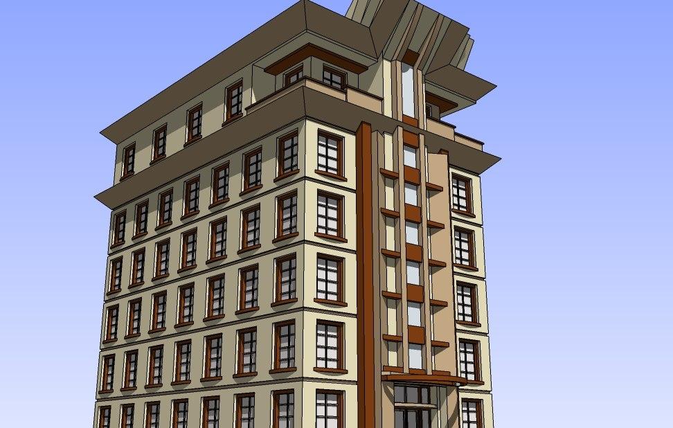 3d art deco style apartment model