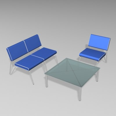 free airport table chair set 3d model