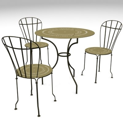table chair garden furnitures 3d model