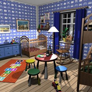 kidroom crib toys 3d max