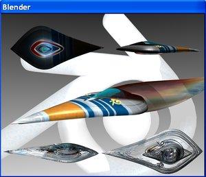 blender sailship clock 3d model
