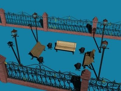 3d fence bench street lamp model