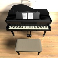 piano stool grande keyboard 3d max