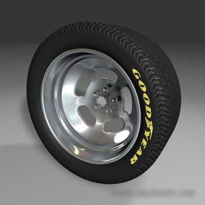 sloted wheel tire 3d model