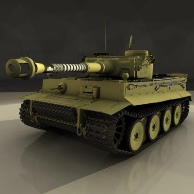 3d late tiger 1 tank model
