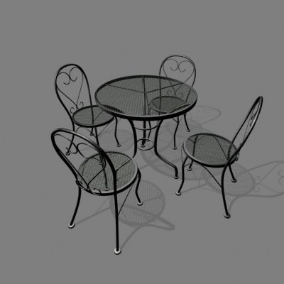3d patio chair table set model