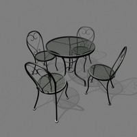 patio chair table set 3d 3ds