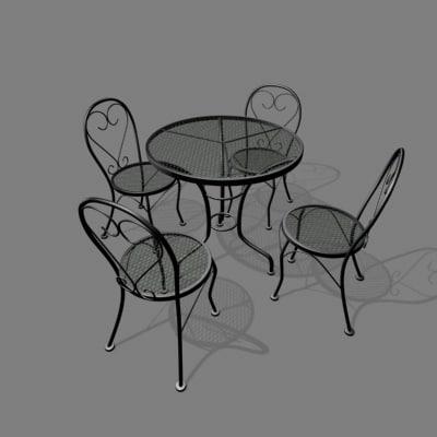 patio chair table set 3d 3ds