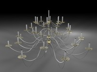 3d silver gold chandelier