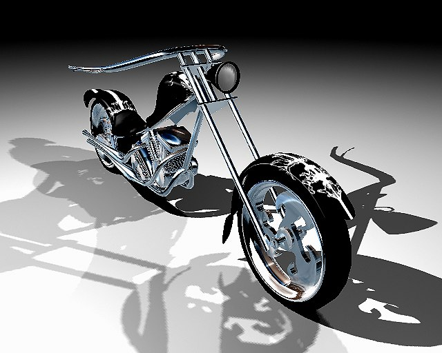 3d model motorcycle custom chopper