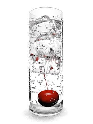 glass ice cubes cherry 3d model