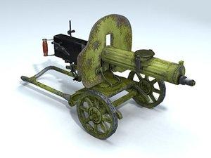 3d model weapon machine gun maxim