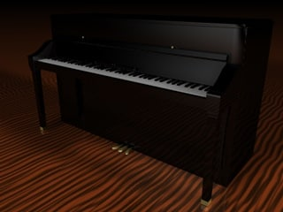 3d upright piano keyboard model