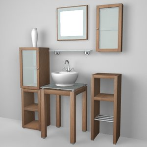 houston bathroom set sink 3d model