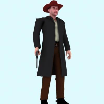 3d model of hi res cowboy character