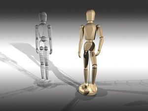 wooden artists mannequin 3d model