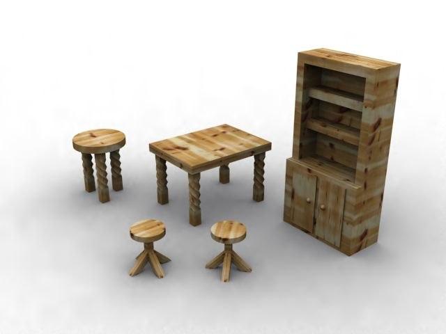 3d model solid wooden kitchen furniture