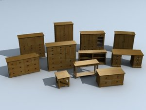 furniture dresser wardrobe coffee table 3d model