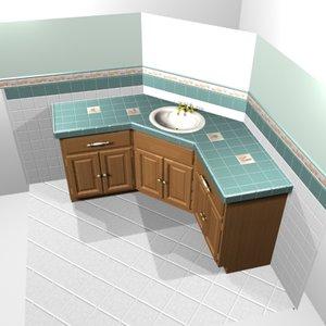 sink counter cabinet 3d model