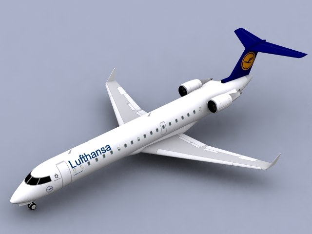 3d canadair rj-700 lufthansa regional jet