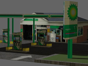 gas station bp 3d model