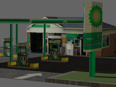 gas station bp 3d model