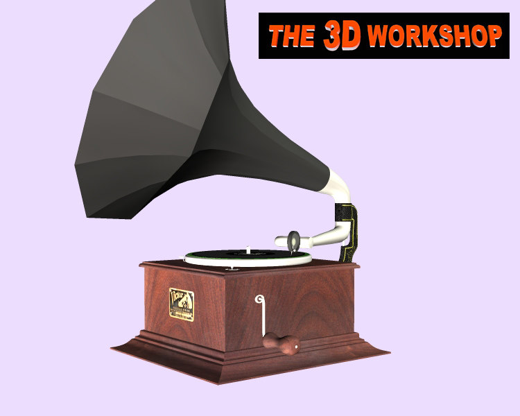 3d antique phonograph