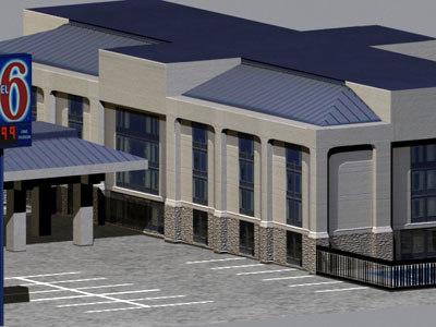 3d hotel motel 6 buildings model