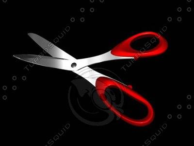 scissors red handle 3d dxf