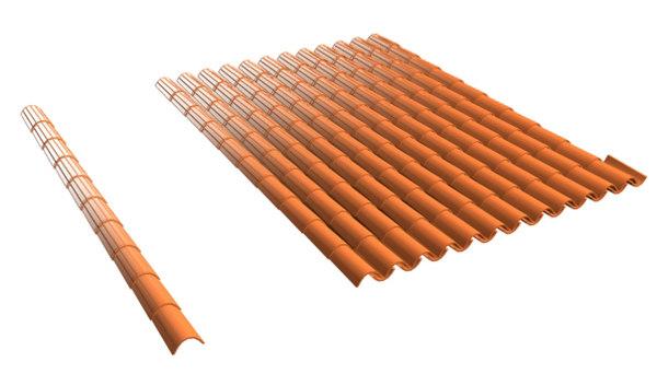 spanish barrel tile roof 3d model