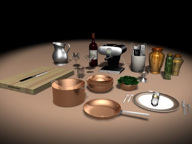 3d model of kitchen clutter
