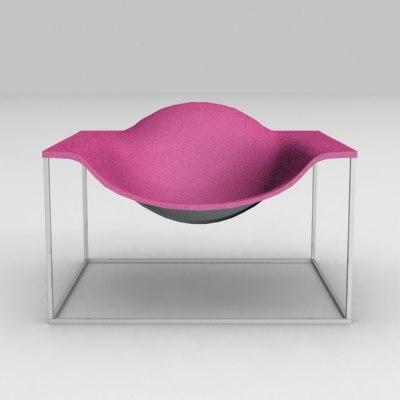 3d model outline chair cappellini