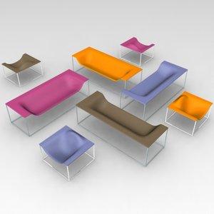 outline sofa chair cappellini 3d model